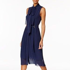Michael Kors Pleated Tie Neck Shift Dress